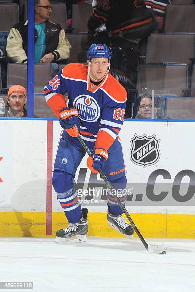 Nikita Nikitin of the Edmonton Oilers skates on the ice prior to the game against the Vancouver Canucks on November 19 2014 at Rexall Place in...