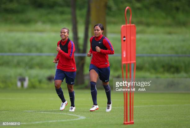 Nikita Parris and Alex Scott of England Women during an England Training Session on August 2 2017 in Utrecht Netherlands