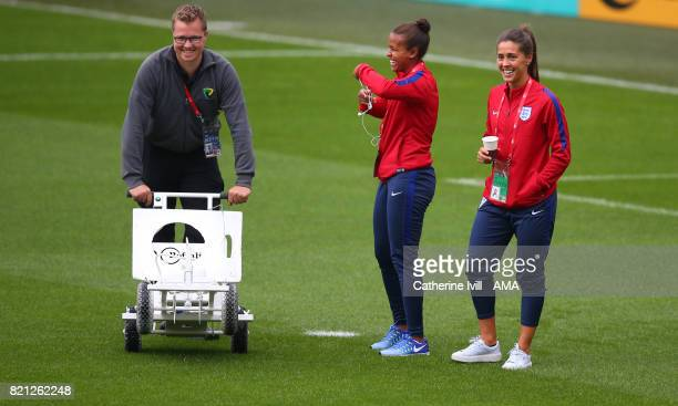 Nikita Parris and Fara Williams of England Women talk to the groundstaff before the UEFA Women's Euro 2017 match between England and Spain at Rat...