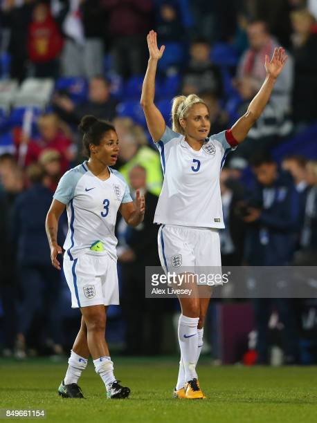 Nikita Parris and Steph Houghton of England celebrate after the FIFA Women's World Cup Qualifier between England and Russia at Prenton Park on...