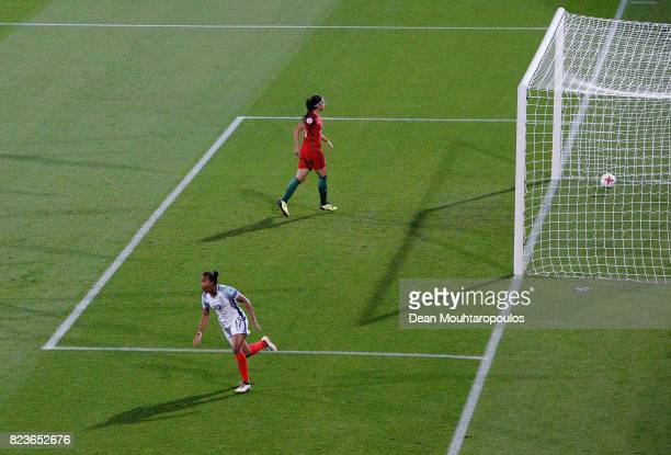 Nikita Parris of England celebrates after scoring her teams second goal of the game during the UEFA Women's Euro 2017 Group D match between Portugal...