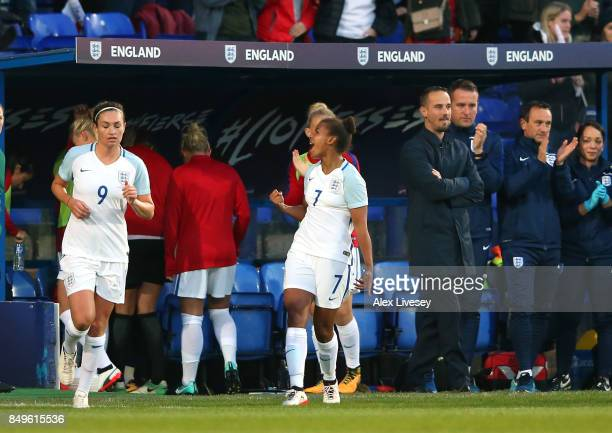 Nikita Parris of England celebrates after scoring the opening goal during the FIFA Women's World Cup Qualifier between England and Russia at Prenton...