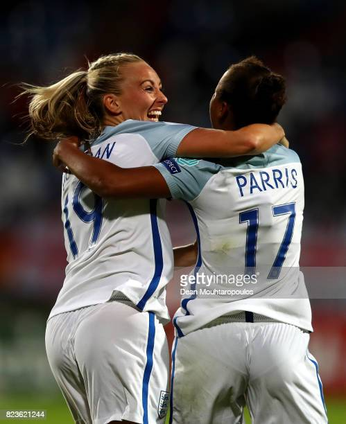 Nikita Parris of England celebrates with team mate Toni Duggan after scoring her team's second goal of the game during the UEFA Women's Euro 2017...