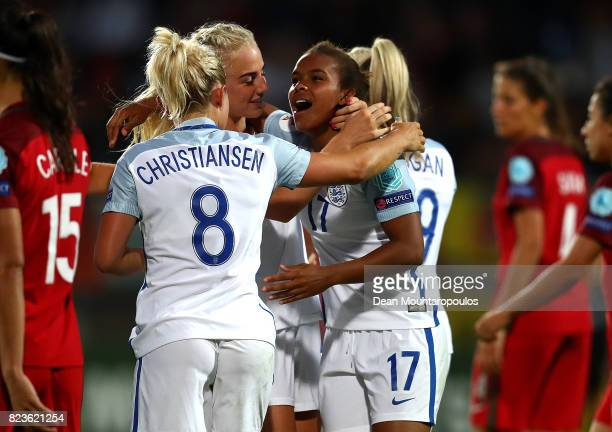 Nikita Parris of England celebrates with teammates after scoring her team's second goal of the game during the UEFA Women's Euro 2017 Group D match...