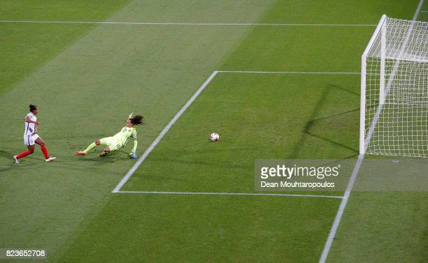 Nikita Parris of England scores her teams second goal of the game during the UEFA Women's Euro 2017 Group D match between Portugal and England at...