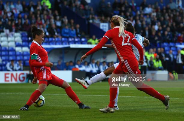 Nikita Parris of England scores the opening goal during the FIFA Women's World Cup Qualifier between England and Russia at Prenton Park on September...