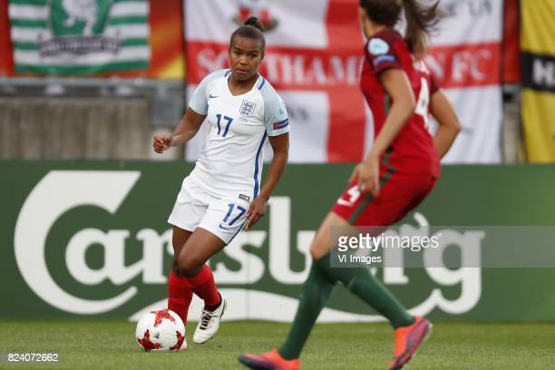 Nikita Parris of England women Silvia Rebelo of Portugal women during the UEFA WEURO 2017 Group D group stage match between Portugal and England at...
