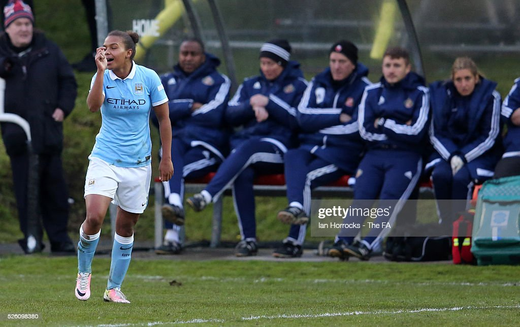 Nikita Parris of Manchester City celebrates scoring the opening goal during the WSL 1 match between Sunderland AFC Ladies and Manchester City Women at The Hetton Center on April 29, 2016 in Hetton, England.