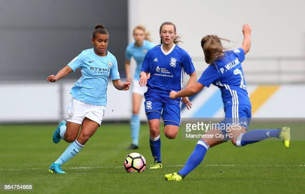 Nikita Parris of Manchester City Women battles with Paige Williams of Birmingham City Ladies during the FA WSL Continental Tyres Cup between...