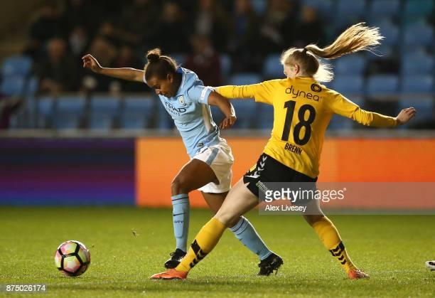 Nikita Parris of Manchester City Women beats Malin Johnsen Brenn of LSK Kvinner during the UEFA Women's Champions League match between Manchester...