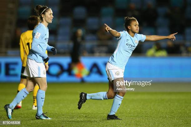 Nikita Parris of Manchester City Women celebrates after scoring their second goal during the UEFA Women's Champions League match between Manchester...