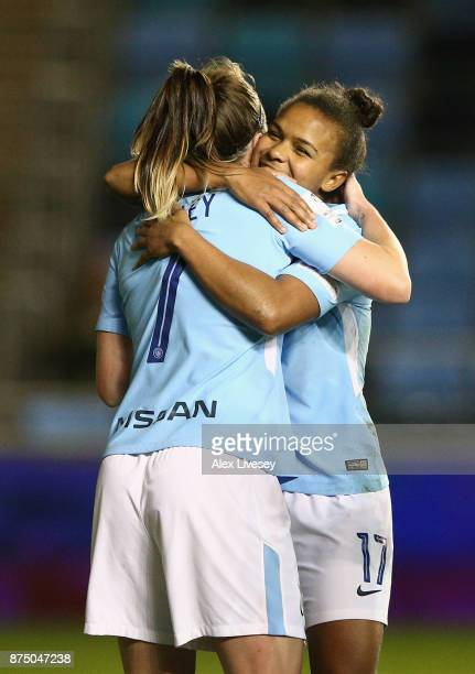 Nikita Parris of Manchester City Women celebrates with Melissa Lawley after scoring their second goal during the UEFA Women's Champions League match...