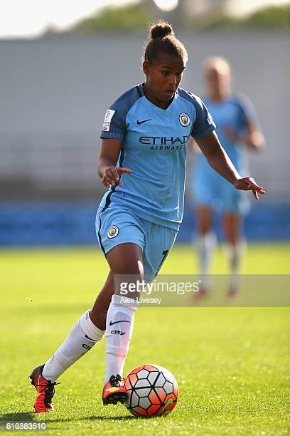 Nikita Parris of Manchester City Women controls the ball during the FA Women's Super League match between Manchester City Women and Chelsea Ladies FC...
