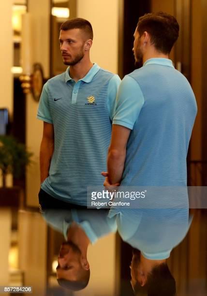 Nikita Rukavytsya and Mathew Leckie of Australia arrive for an Australia Socceroos media opportunity on October 4 2017 in Malacca Malaysia