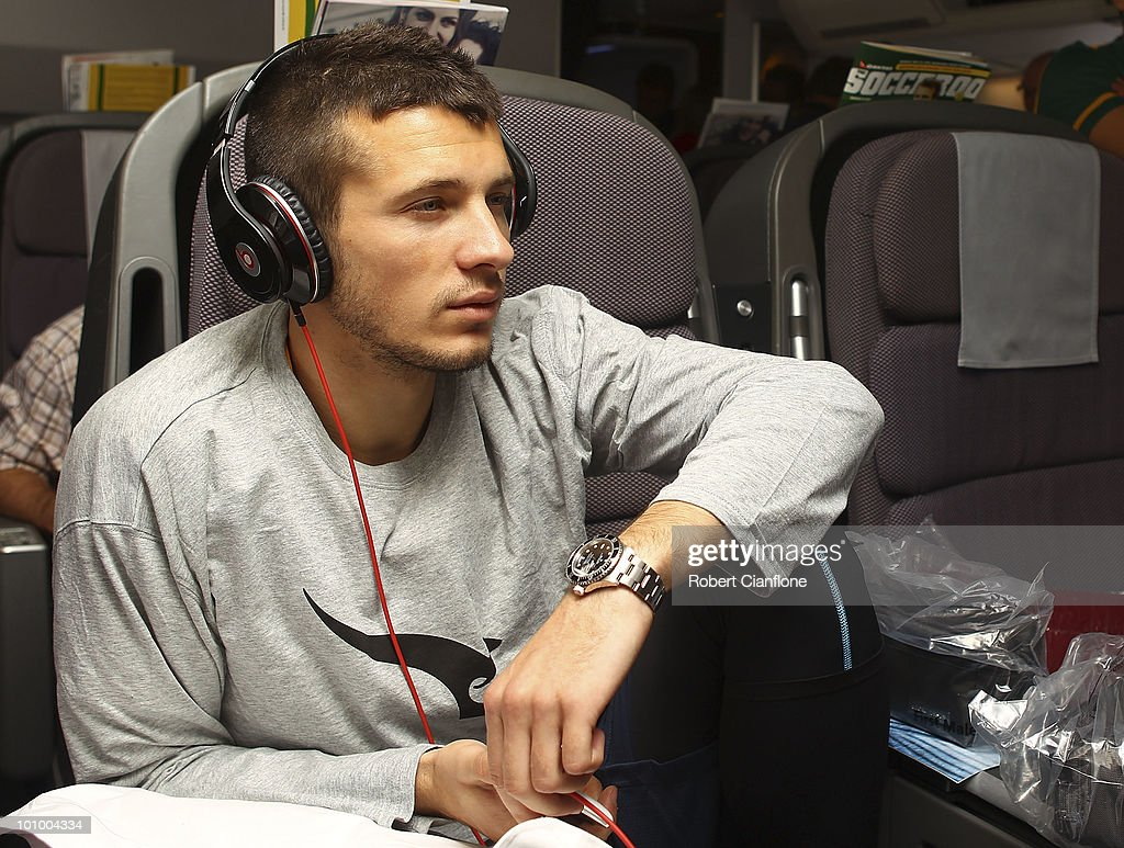 Nikita Rukavytsya of the Australian Socceroos relax in-flight en route to Johannesburg in South Africa for the 2010 FIFA World Cup on May 26, 2010.