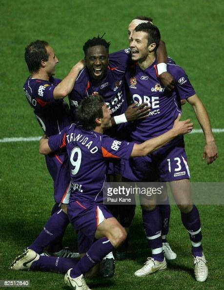 Nikita Rukavytsya of the Glory celebrates scoring a goal during the round two ALeague match between Perth Glory and Newcastle Jets at Members Equity...