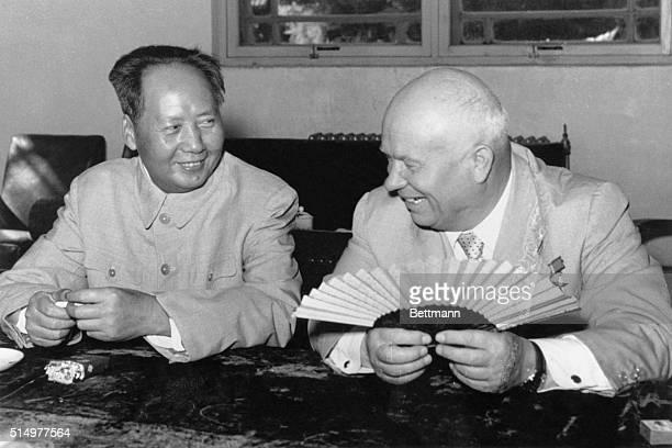 Nikita S Khrushchev chatting with Mao TseTung