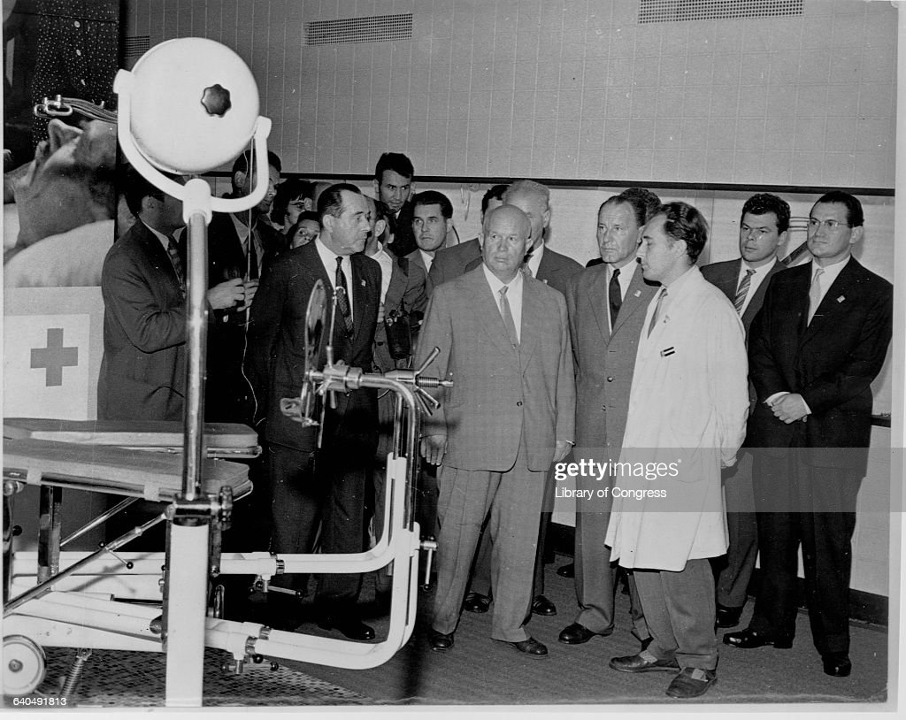 Nikita S. Krushchev, Yanos Kadar and others view hospital equipment at the Hungarian Industrial Exposition, Moscow, August 30, 1960.