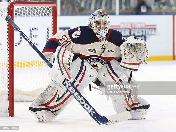 Nikita Serebryakov of the Saginaw Spirit watches for a shot against the Windsor Spitfires during Game One of the OHL Winter Classic at Comerica Park...