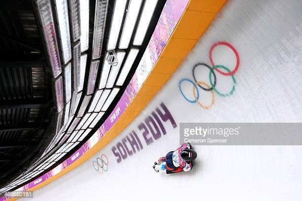 Nikita Tregybov of Russia makes a run during the Men's Skeleton on Day 8 of the Sochi 2014 Winter Olympics at Sliding Center Sanki on February 15...