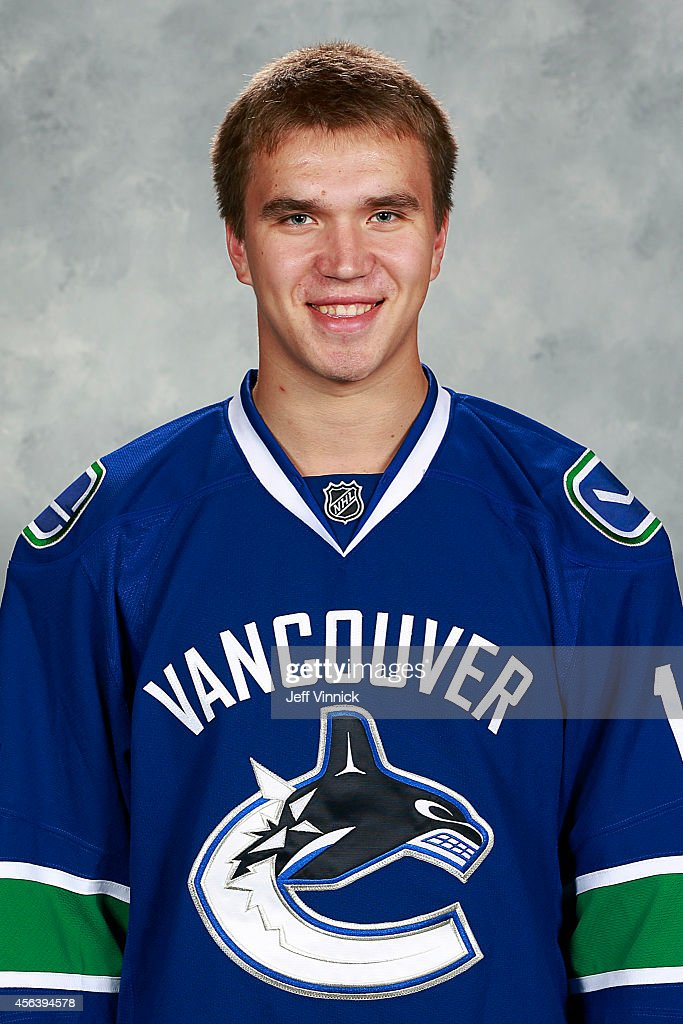 Nikita Tryamkin of the Vancouver Canucks poses for his official headshot for the 2014-2015 season on September 18, 2014 at the Rogers Arena in Vancouver, British Columbia, Canada.
