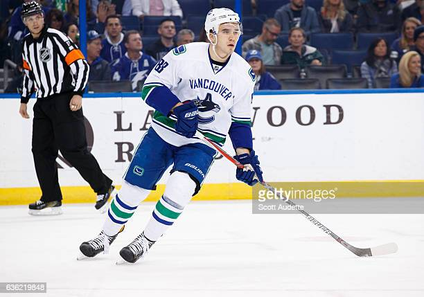 Nikita Tryamkin of the Vancouver Canucks skates against the Tampa Bay Lightning at Amalie Arena on December 8 2016 in Tampa Florida 'n