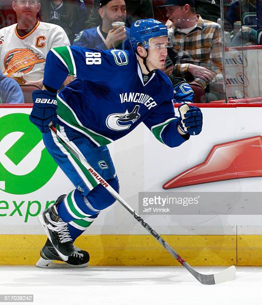 Nikita Tryamkin of the Vancouver Canucks skates up ice during their NHL game against the Colorado Avalanche at Rogers Arena March 16 2016 in...