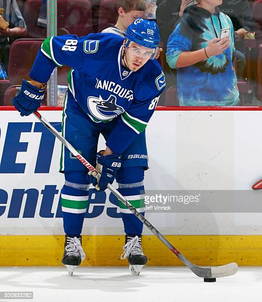 Nikita Tryamkin of the Vancouver Canucks skates up ice during their NHL game against the Edmonton Oilers at Rogers Arena April 9 2016 in Vancouver...