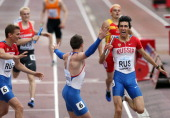 Nikita Uglov of Russia leads his team to victory in the Men's 4x400m Final during day four of The European Athletics U23 Championships 2013 on July...