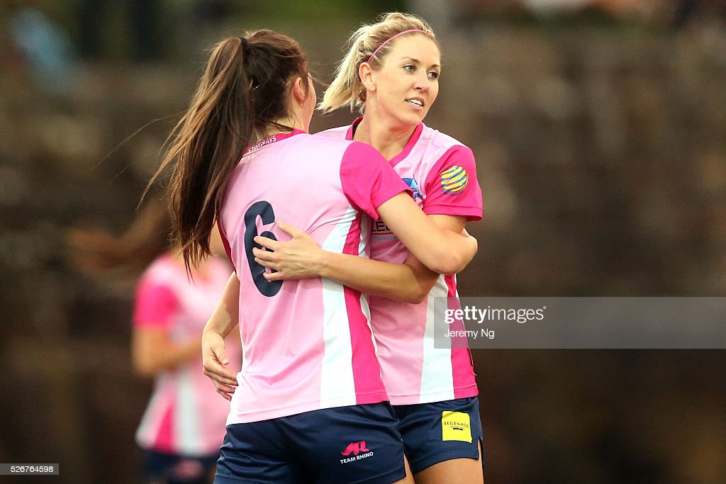 Nikita Woods and Erica Halloway of the Stingrays celebrate a goal during the NPL 1 NSW Womens match between North Shore Mariners and Illawarra Stingrays at Northbridge Oval on May 1, 2016 in Sydney, Australia.