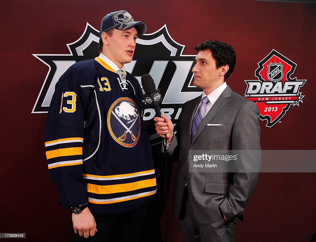 Nikita Zadorov, 16th pick overall by the Buffalo Sabres, speaks with Steve Mears of the NHL Network during the 2013 NHL Draft at Prudential Center on June 30, 2013 in Newark, New Jersey.