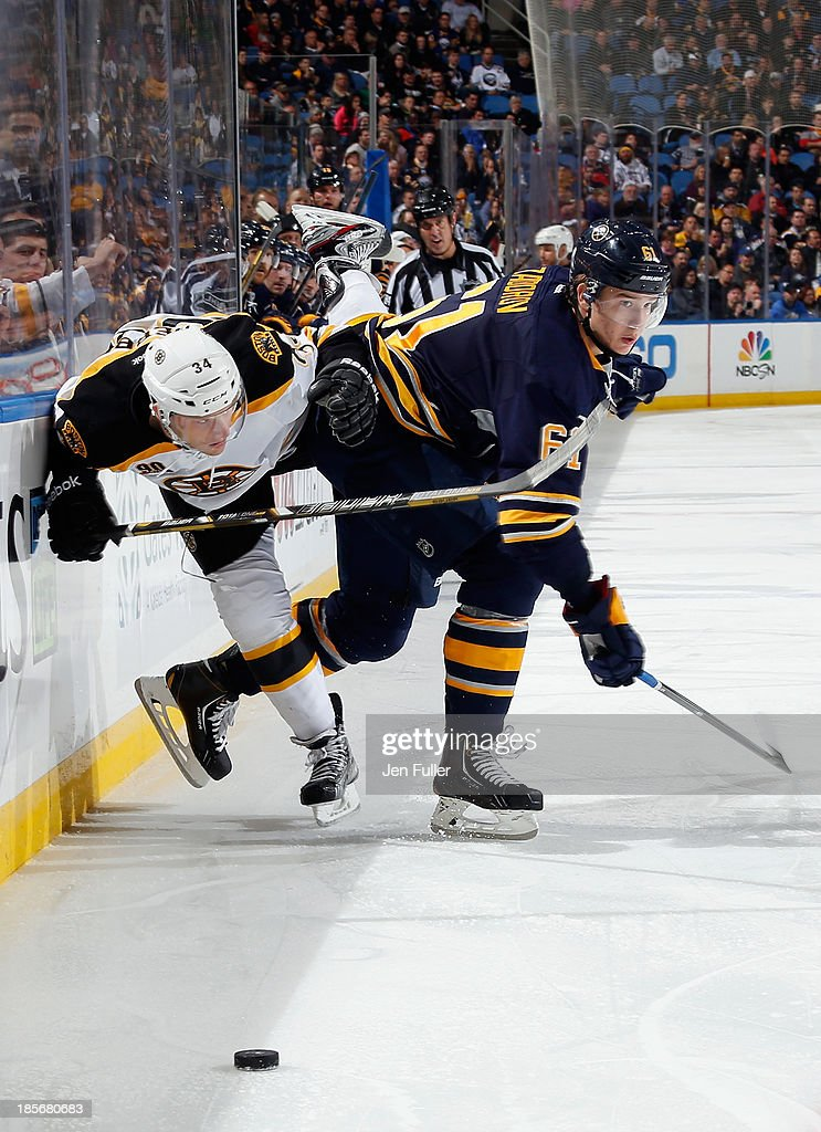 <a gi-track='captionPersonalityLinkClicked' href=/galleries/search?phrase=Nikita+Zadorov&family=editorial&specificpeople=9784875 ng-click='$event.stopPropagation()'>Nikita Zadorov</a> #61 of the Buffalo Sabres checks Carl Soderberg #34 of the Boston Bruins at First Niagara Center on October 23, 2013 in Buffalo, New York.