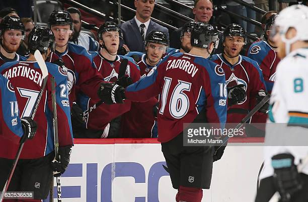 Nikita Zadorov of the Colorado Avalanche celebrates a goal against the San Jose Sharks with his bench at the Pepsi Center on January 23 2017 in...