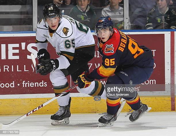 Nikita Zadorov of the London Knights flips a puck away from Andre Burakovsky of the Erie Otters in an OHL game at the Budweiser Gardens on November...