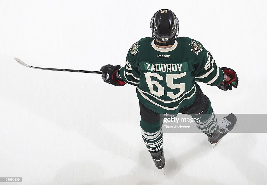 Nikita Zadorov #65 of the London Knights skates in the warm-up prior to a 1st round play-off game against the Saginaw Spirit on March 22, 2013 at the Budweiser Gardens in London, Ontario, Canada. The Knights defeated the Spirit 5-2 to take a 1-0 series lead.
