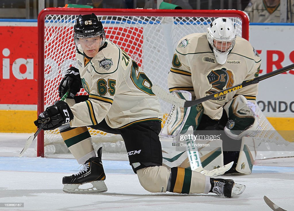 Nikita Zadorov #65 of the London Knights tries to block a shot in an OHL game against the Windsor Spitfires on October 5, 2012 at the Budweiser Gardens in London, Canada. The Knights defeated the Spitfires 8-2.