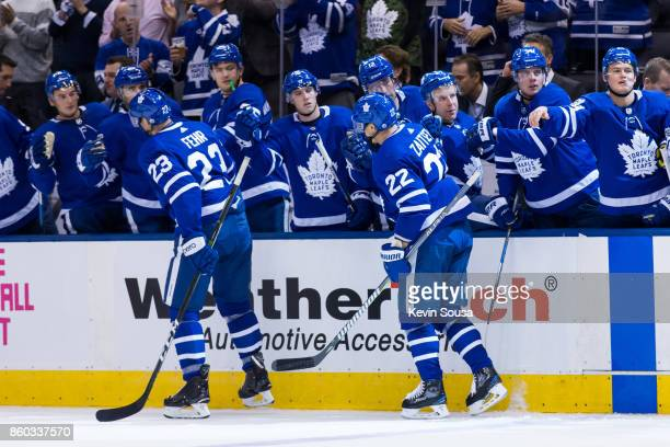 Nikita Zaitsev of the Toronto Maple Leafs celebrates his second period goal against the Chicago Blackhawks during the second period on October 9 2017...