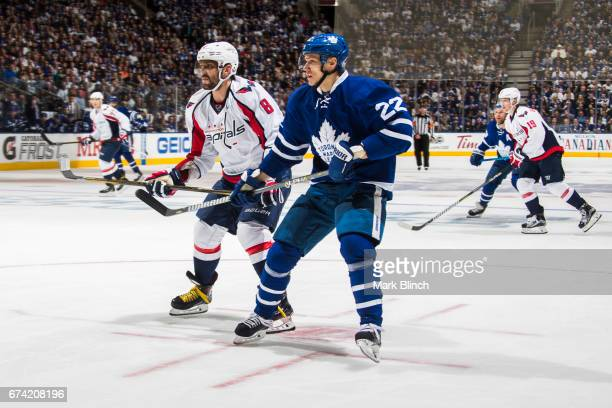Nikita Zaitsev of the Toronto Maple Leafs skates against Alex Ovechkin of the Washington Capitals during the second period in Game Six of the Eastern...