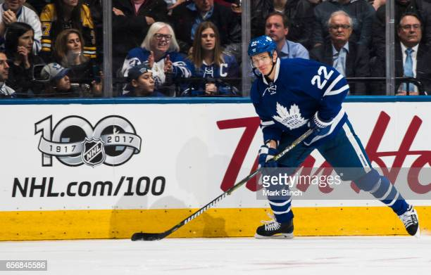 Nikita Zaitsev of the Toronto Maple Leafs skates against the Boston Bruins during the third period at the Air Canada Centre on March 20 2017 in...