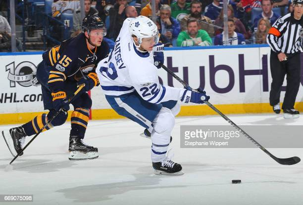 Nikita Zaitsev of the Toronto Maple Leafs skates against the Buffalo Sabres during an NHL game at the KeyBank Center on April 3 2017 in Buffalo New...