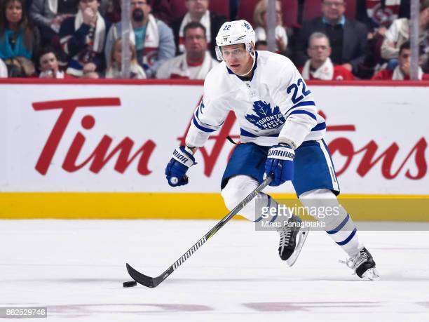 Nikita Zaitsev of the Toronto Maple Leafs skates the puck against the Montreal Canadiens during the NHL game at the Bell Centre on October 14 2017 in...
