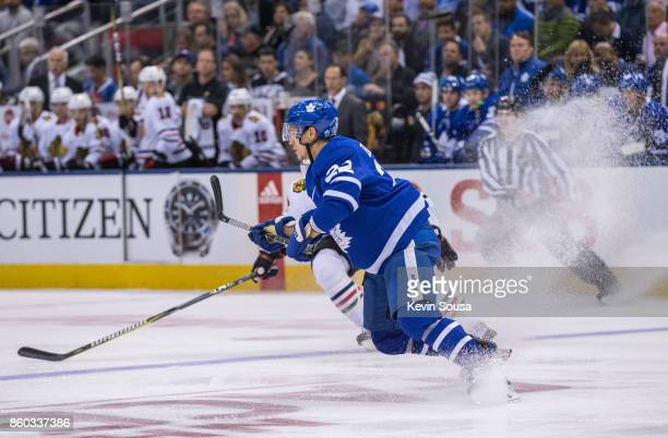 Nikita Zaitsev of the Toronto Maple Leafs stops against the Chicago Blackhawks during the first period on October 9 2017 at the Air Canada Centre in...