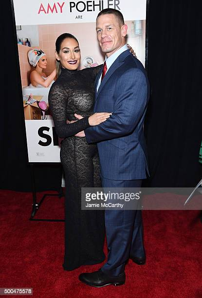Nikki Bella and actor John Cena attend the 'Sisters' New York Premiere at Ziegfeld Theater on December 8 2015 in New York City
