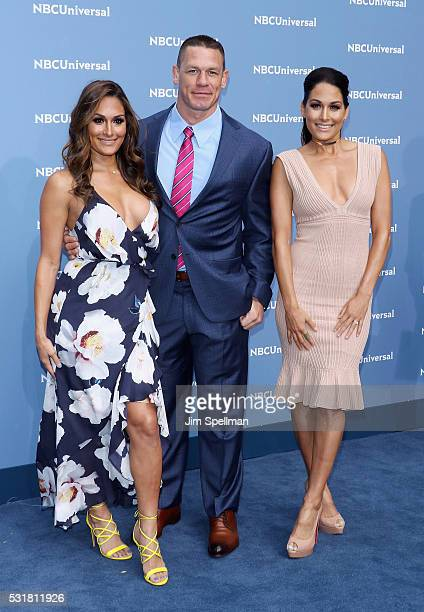 Nikki Bella John Cena and Brie Bella attend the 2016 NBCUNIVERSAL Upfront at Radio City Music Hall on May 16 2016 in New York City