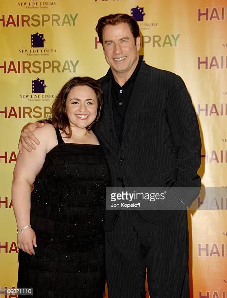 Nikki Blonsky and John Travolta during ShoWest 2007 'Hairspray' Photo Call at Paris Hotel in Las Vegas Nevada United States