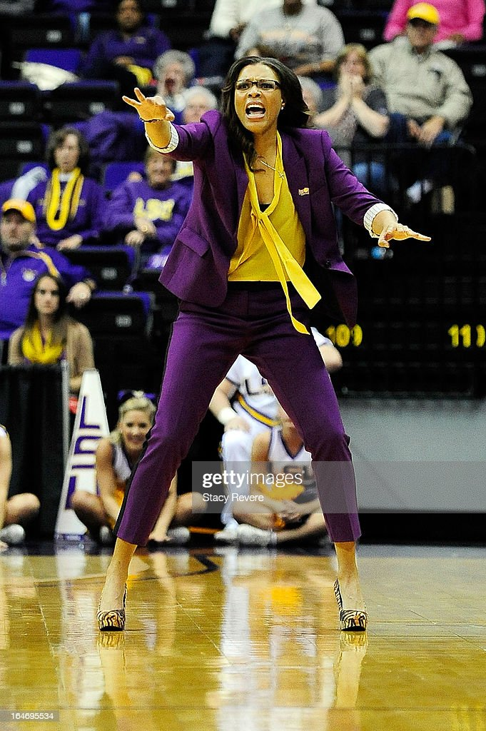Nikki Caldwell, head coach of the LSU Tigers, instructs her players during the second round of the NCAA Tournament against the Penn State Lady Lions at the Pete Maravich Assembly Center on March 26, 2013 in Baton Rouge, Louisiana. LSU won the game 71-66.