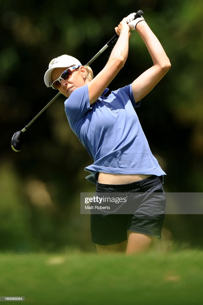 Nikki Campbell of Australia plays her shot on the 3rd hole during the Australian Ladies Masters at Royal Pines Resort on February 3, 2013 on the Gold Coast, Australia.