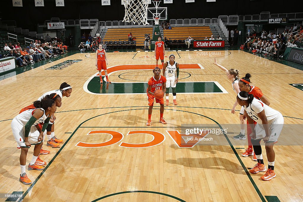 Nikki Dixon #21 of the Clemson Lady Tigers takes a free throw against the Miami Hurricanes on January 3, 2013 at the BankUnited Center in Coral Gables, Florida. Miami defeated Clemson 78-56.