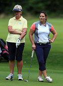Nikki Dunn and Sue Kiddle of Dinsdale Spa Golf Club await their turn to play a shot during the WPGA National ProAm North at Dunham Forest Golf and...