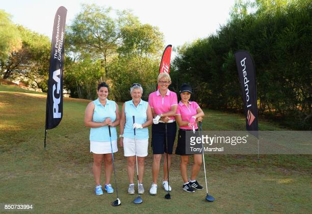 Nikki Dunn of Dinsdale Spa Golf Club and Kate Brown of Dinsdale Spa Golf Club pose on the 1st tee with Sarah Bennett of Three Rivers Golf Country...